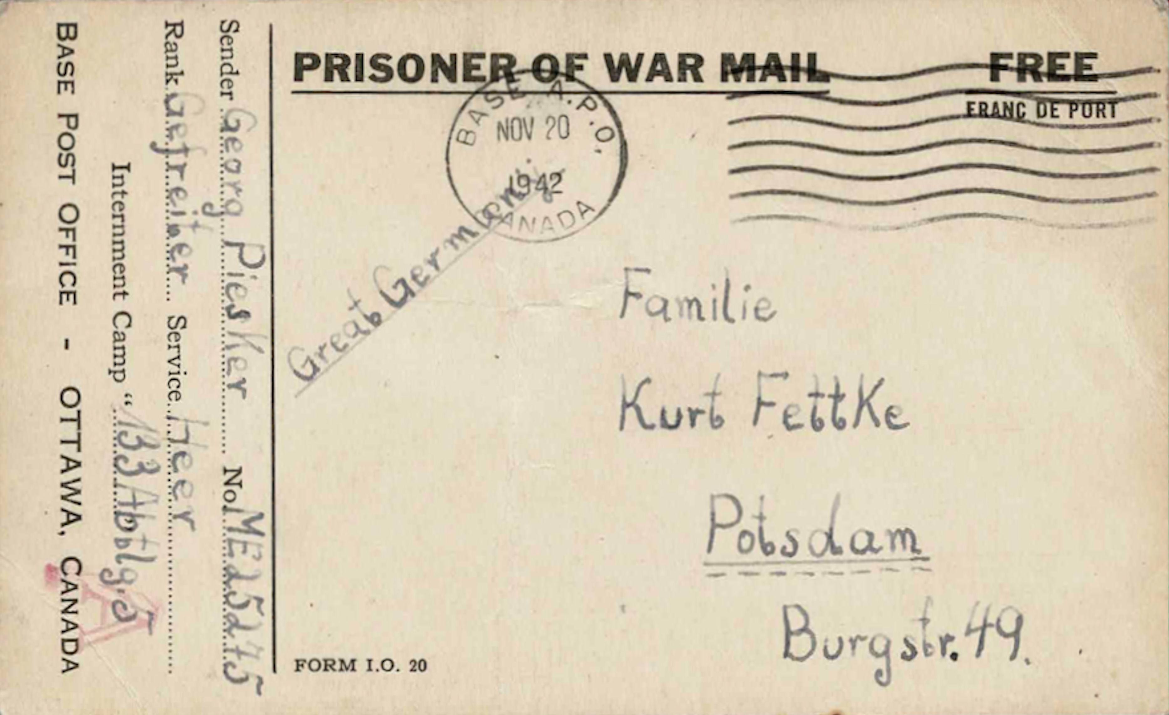 1942;Canada;The War Prisoners Aid of the YMCA ; WW II-Era Christmas POW Card