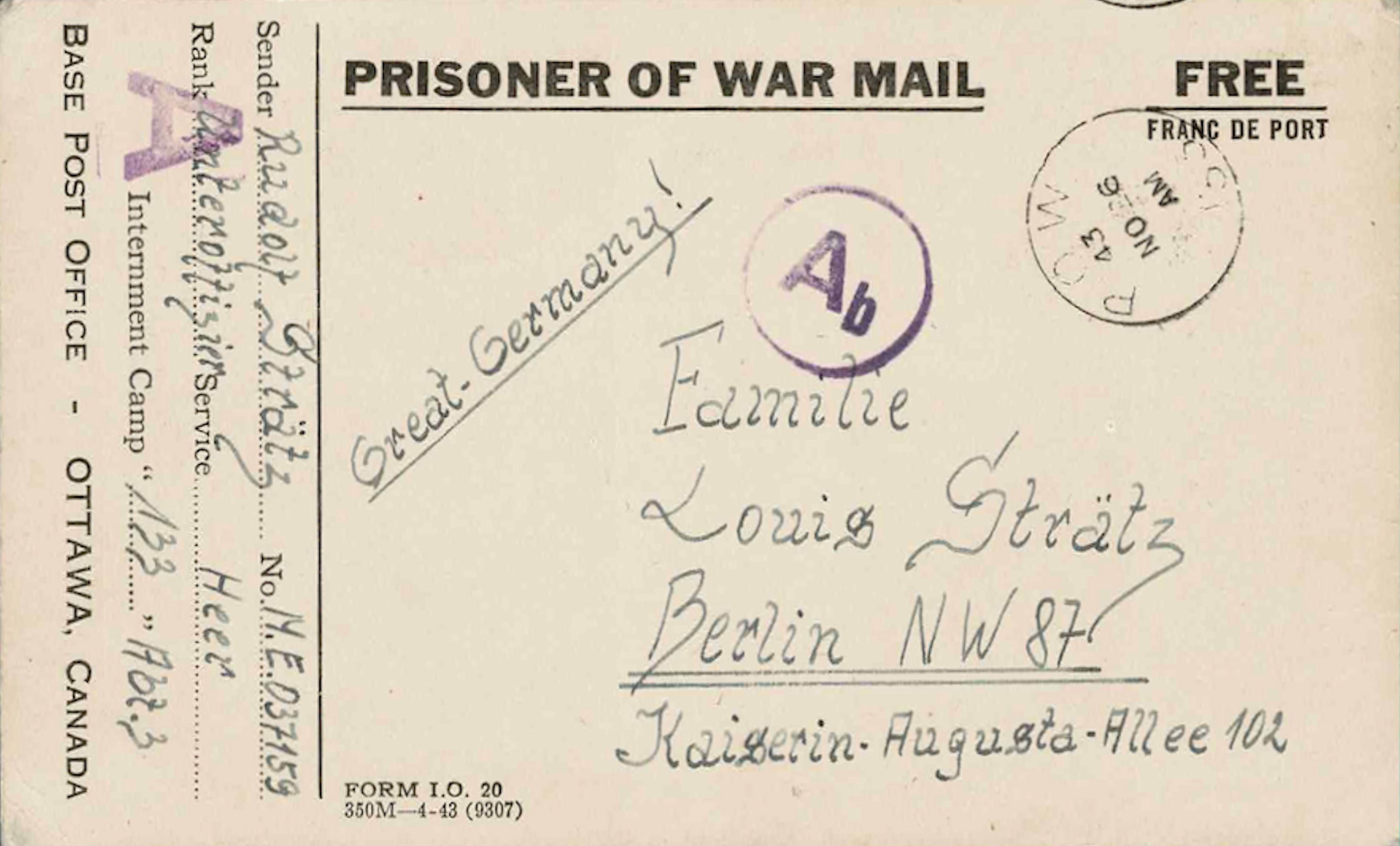 1943;Canada;The War Prisoners Aid of the YMCA ; WW II-Era Christmas POW Card