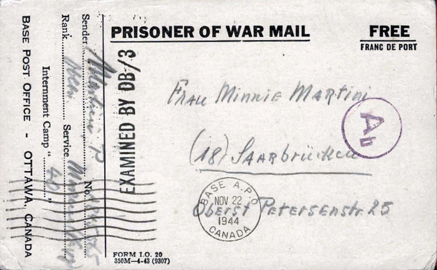 1944;Canada;The War Prisoners Aid of the YMCA ; WW II-Era Christmas POW Card