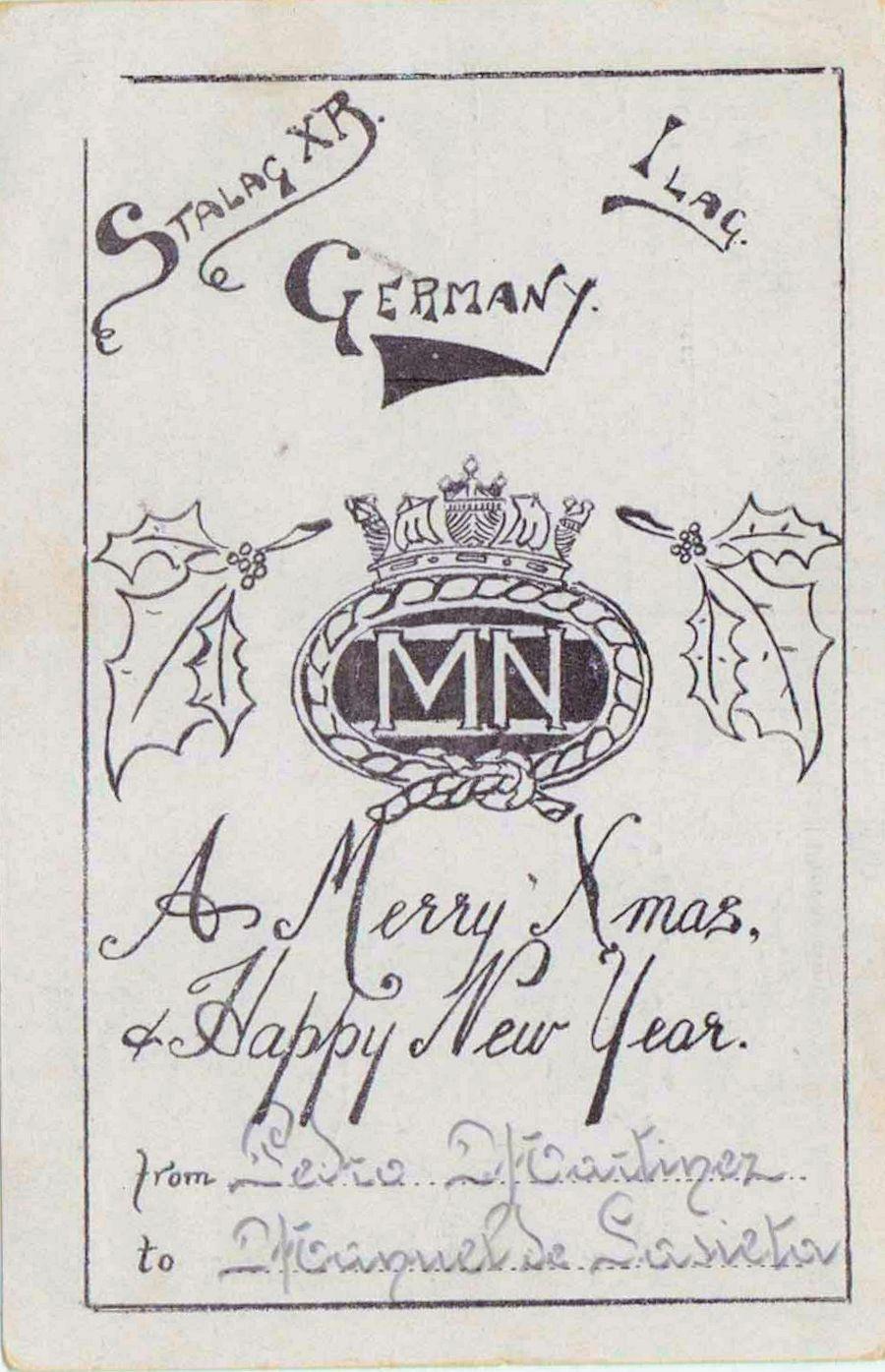 1941;Germany;Stalag XB / Ilag ; WW II-Era Christmas POW Card