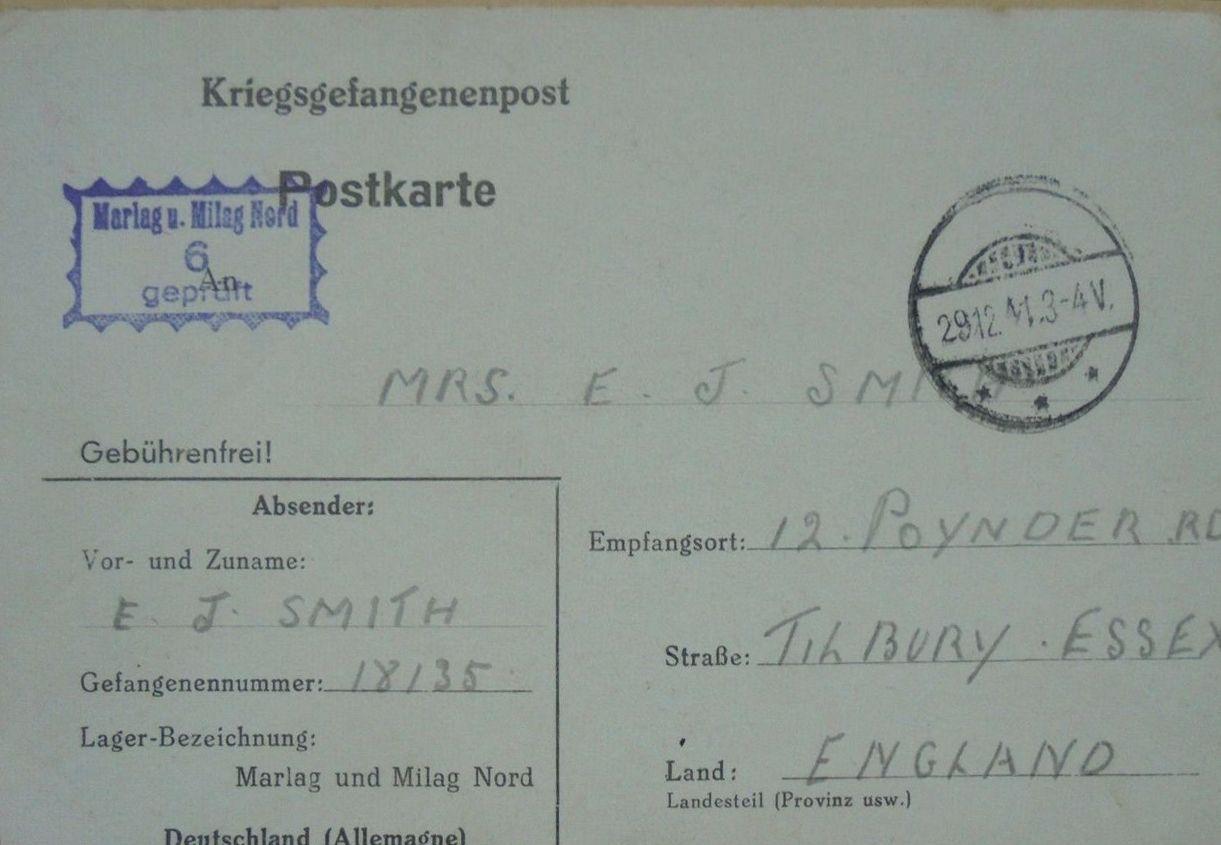 1941;Germany;(Stalag XB) / Marlag ; WW II-Era Christmas POW Card