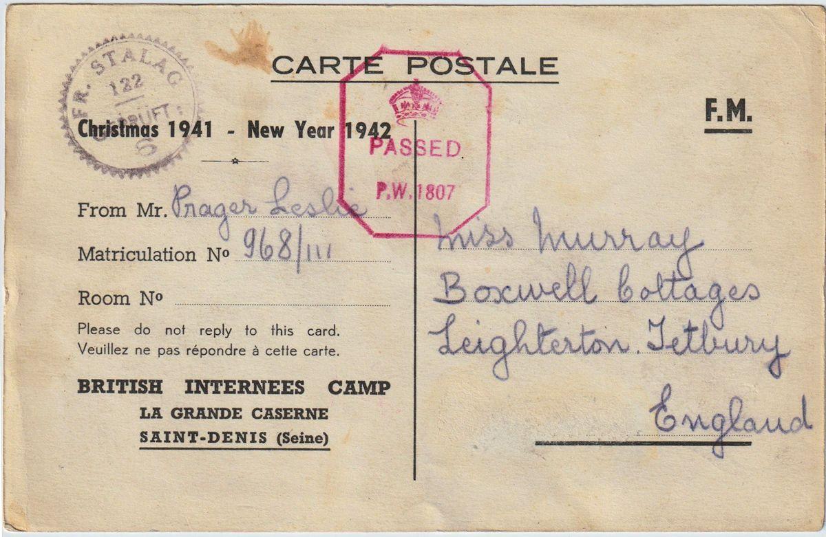 1941;Germany;Internment Camp Saint-Denis; Fisher ; WW II-Era Christmas POW Card