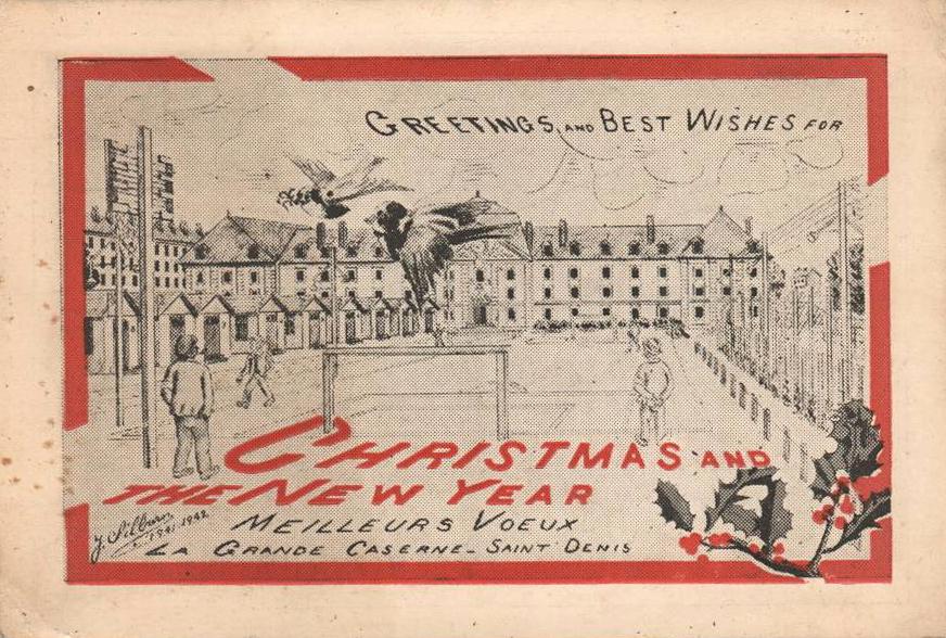 1941;Germany;Internment Camp Saint-Denis; Silburn ; WW II-Era Christmas POW Card