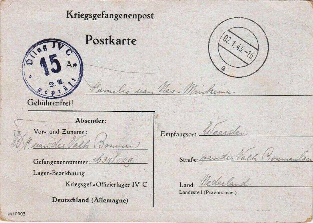1943;Germany;Oflag IVC ; WW II-Era Christmas POW Card