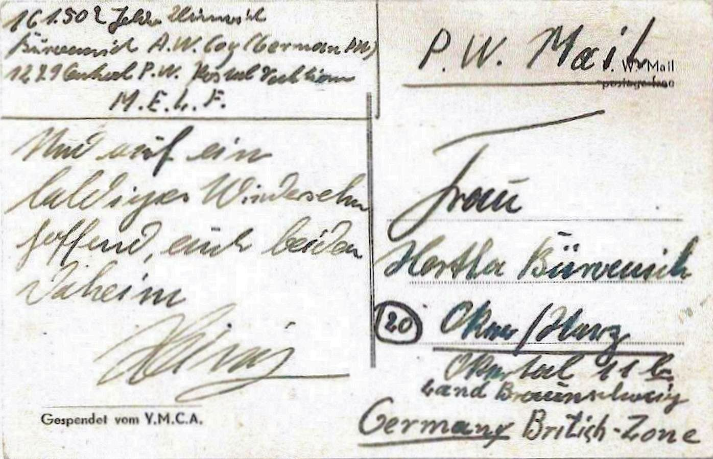 1947;GBMELF;YMCA (MELF – Middle East Land Forces) ; WW II-Era Christmas POW Card