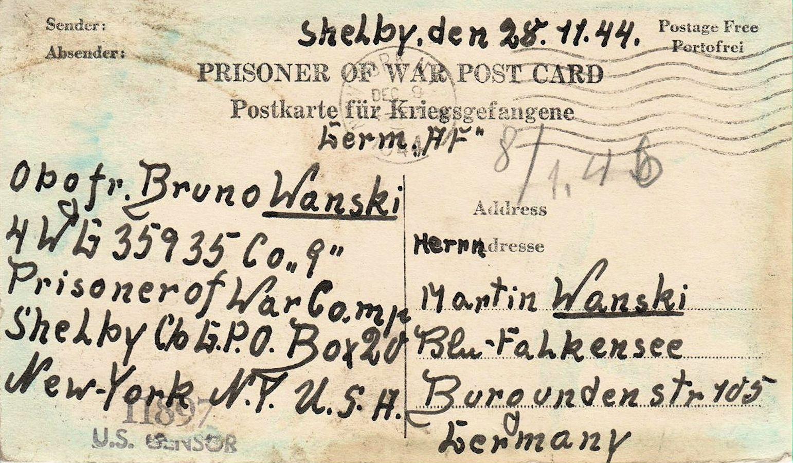 1944;US;Kriegsgefangenenhilfe CVJM (YMCA) ; WW II-Era Christmas POW Card