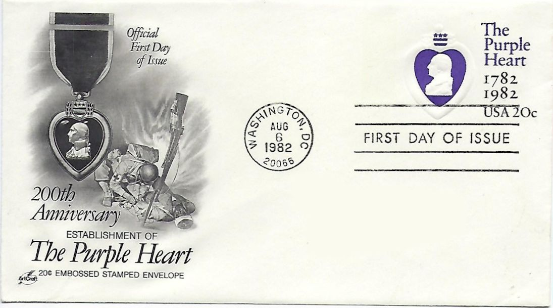 purple heart stamp on cover
